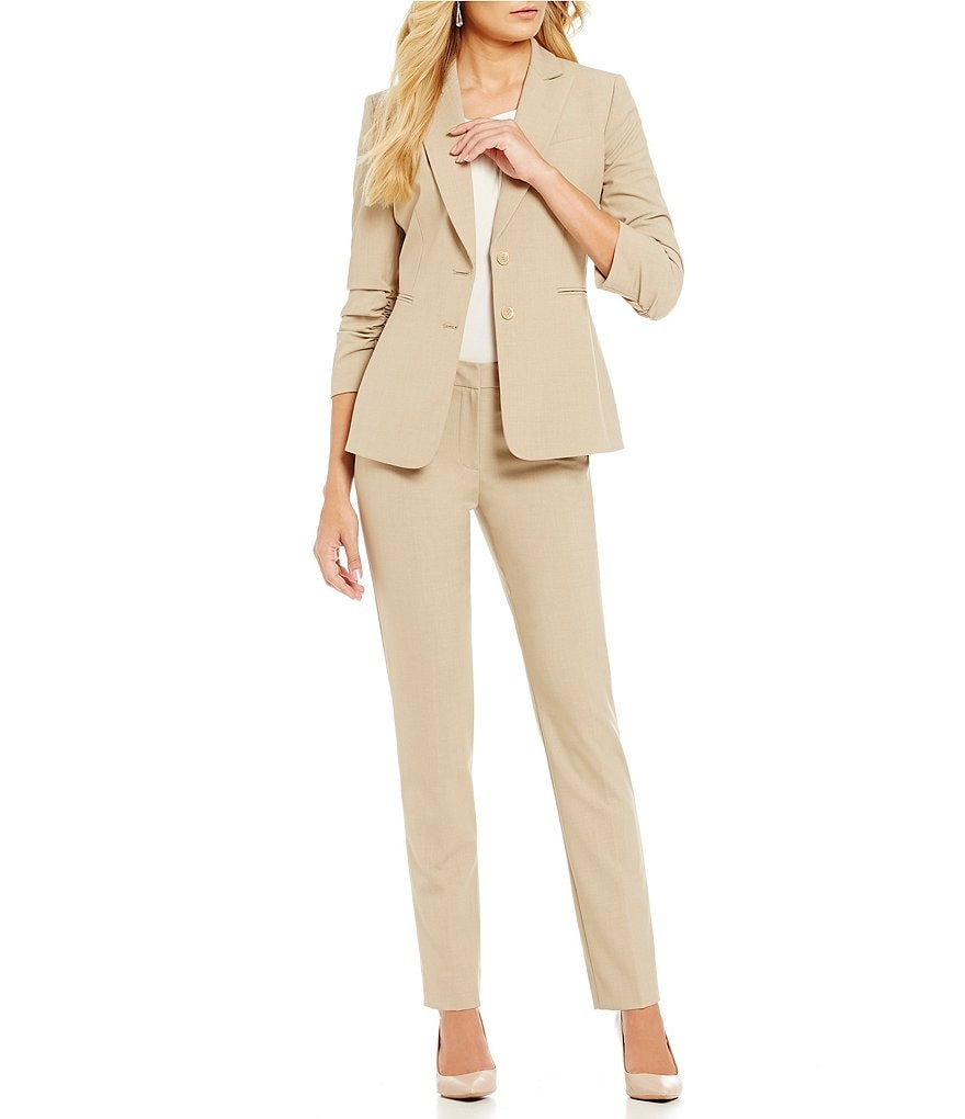 Tahari ASL Notch-Collar Scrunch-Sleeve Jacket & Pant Suit