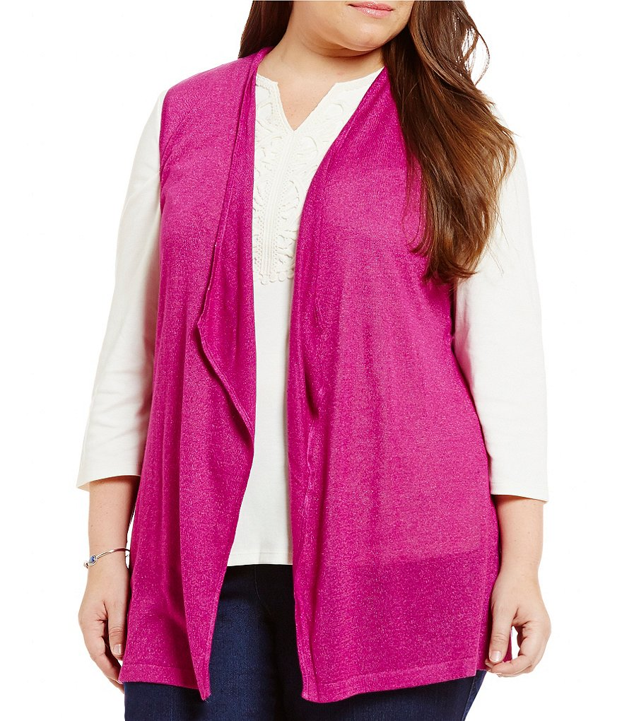 Allison Daley Plus Open Front Sleeveless Long Cardigan
