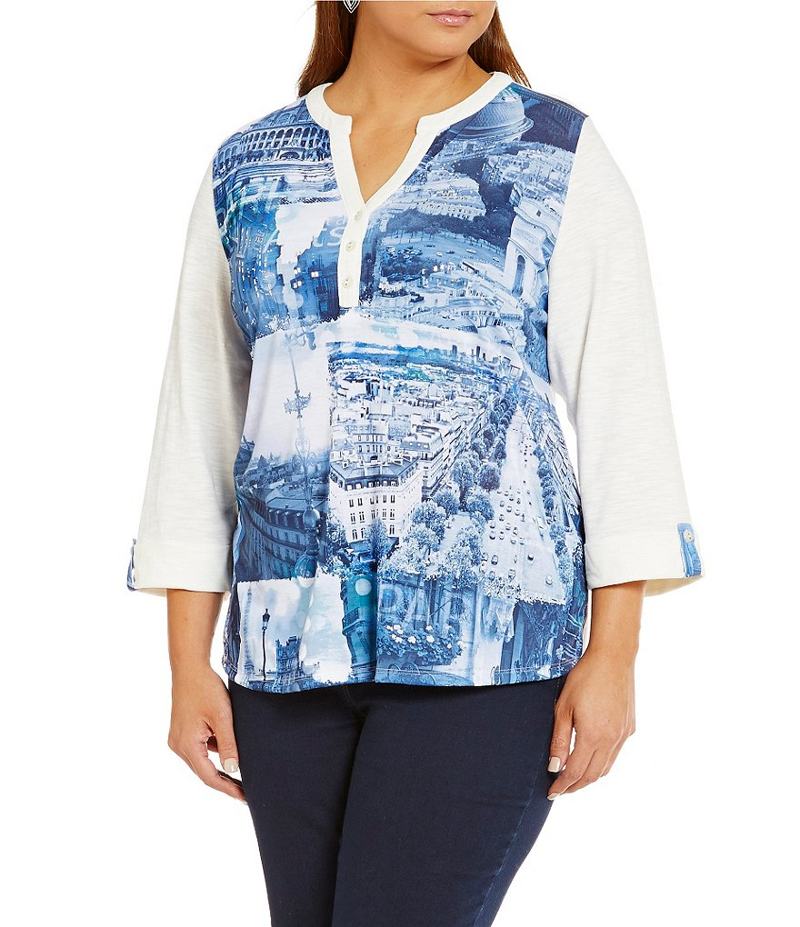 Allison Daley Plus Y-Neck Embellished Paris Print Knit Top