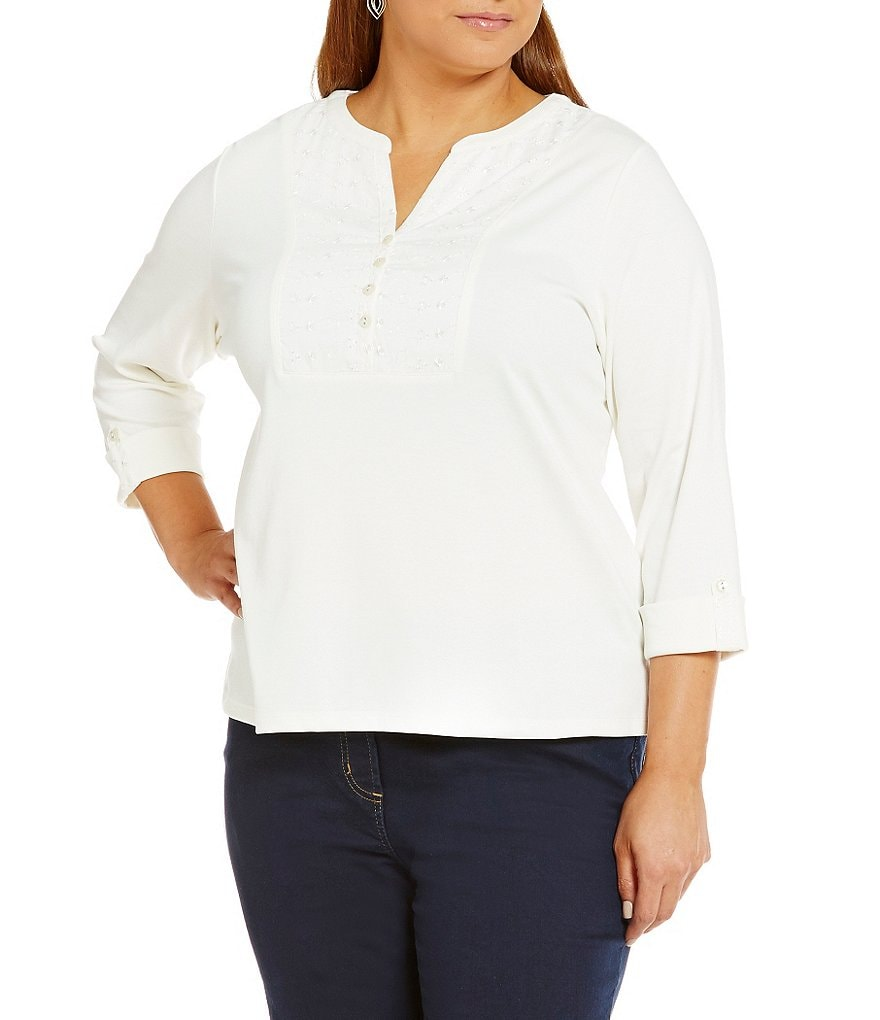 Allison Daley Plus 3/4-Sleeve Interlock Knit Top