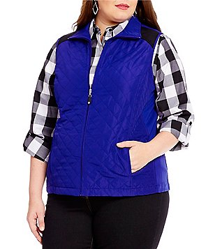 Allison Daley Plus Quilted Contrast-Lined Vest