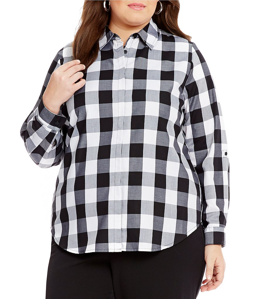 Allison Daley Plus Roll-Tab Sleeve Button Down Woven Top