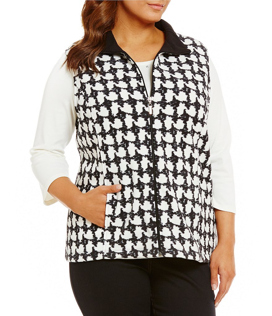 Allison Daley Plus Zip Front Houndstooth Vest