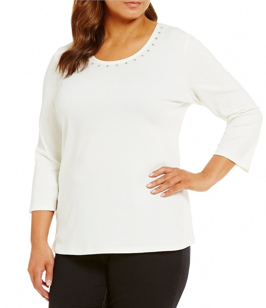 Allison Daley Plus Embellished Crew-Neck Solid Knit Top