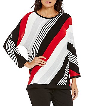 Allison Daley Petite Wide Crew-Neck 3/4 Dolman Sleeve Pullover