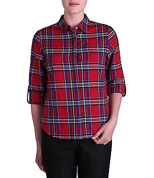 Allison Daley Petite Roll-Tab Sleeve Button Front Plaid Shirt