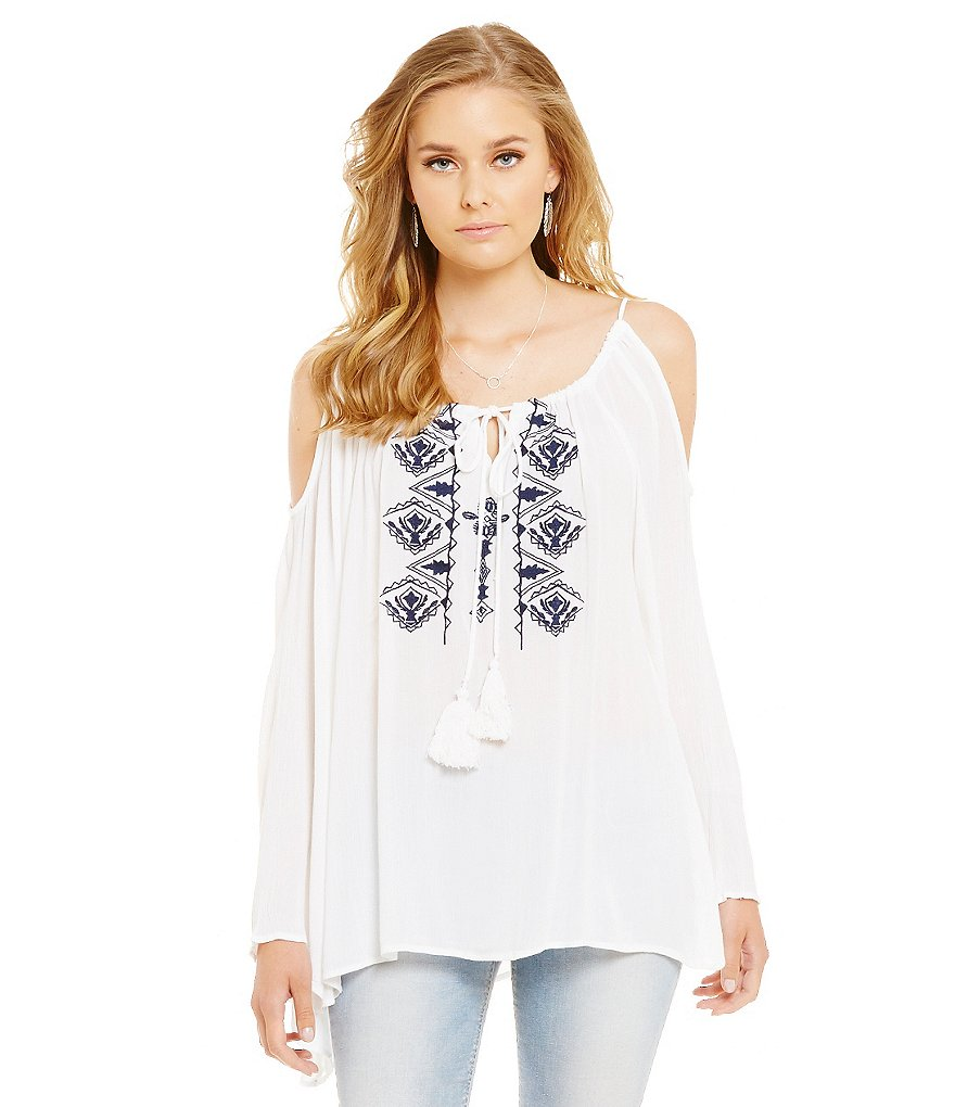 ELAN Embroidered Cold Shoulder Tassel Tie Scoop Neck Blouse