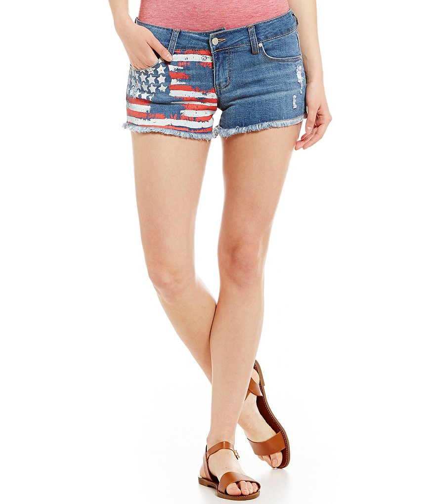 Celebrity Pink Frayed Denim American Flag Shorts