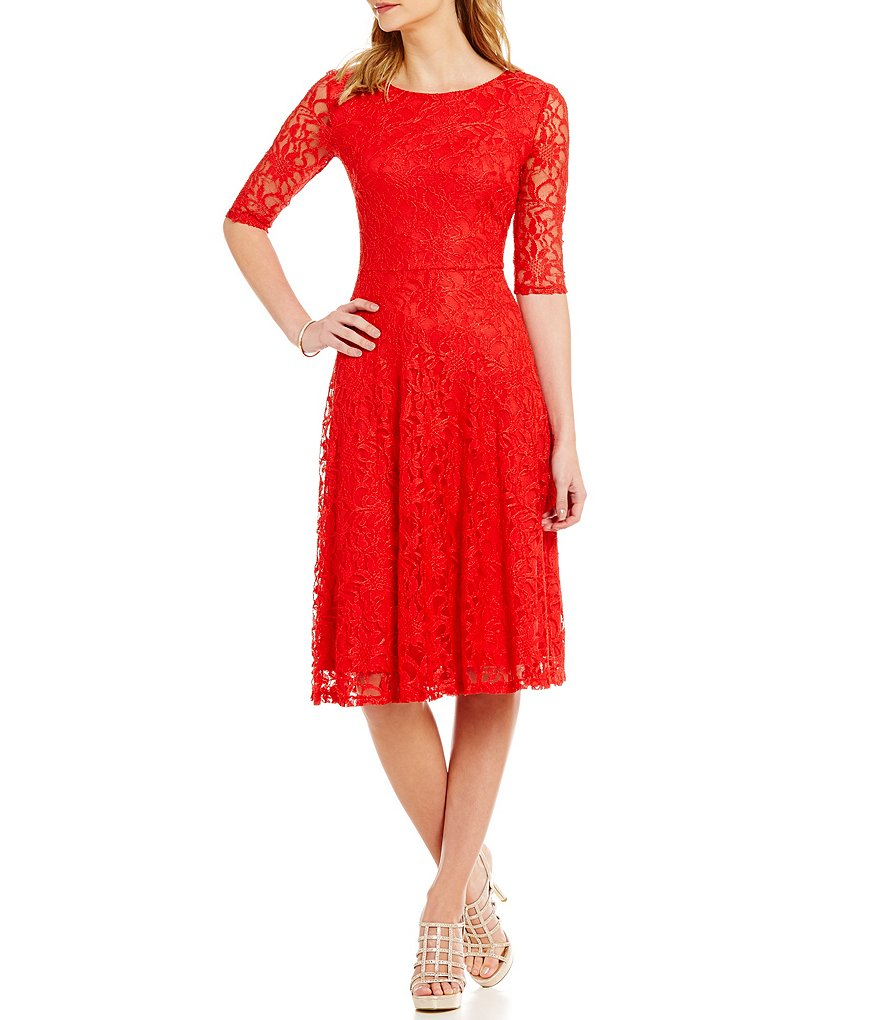 Sangria Lace Fit-and-Flare 3/4 Sleeve Dress