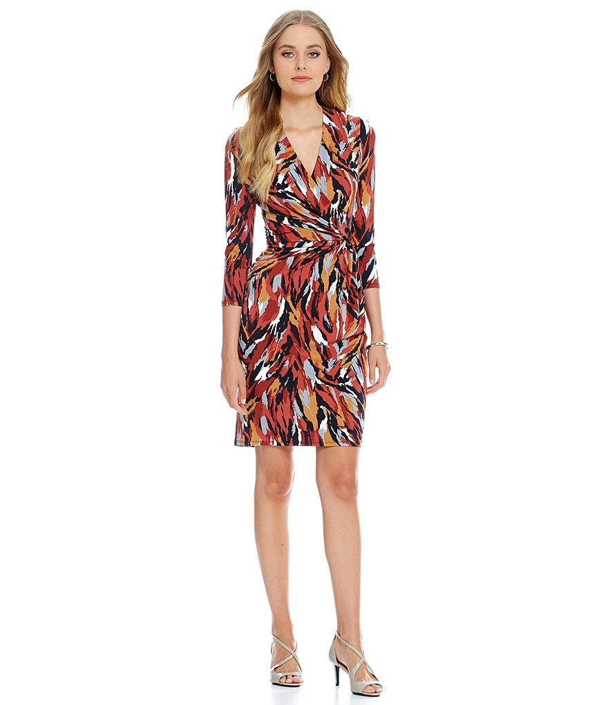 Anne Klein Printed Side-Drape Dress