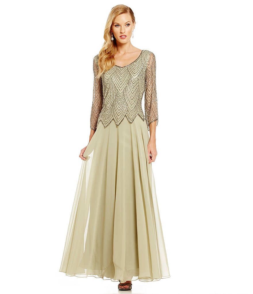 Jkara Beaded Double V-Neck A-Line Gown