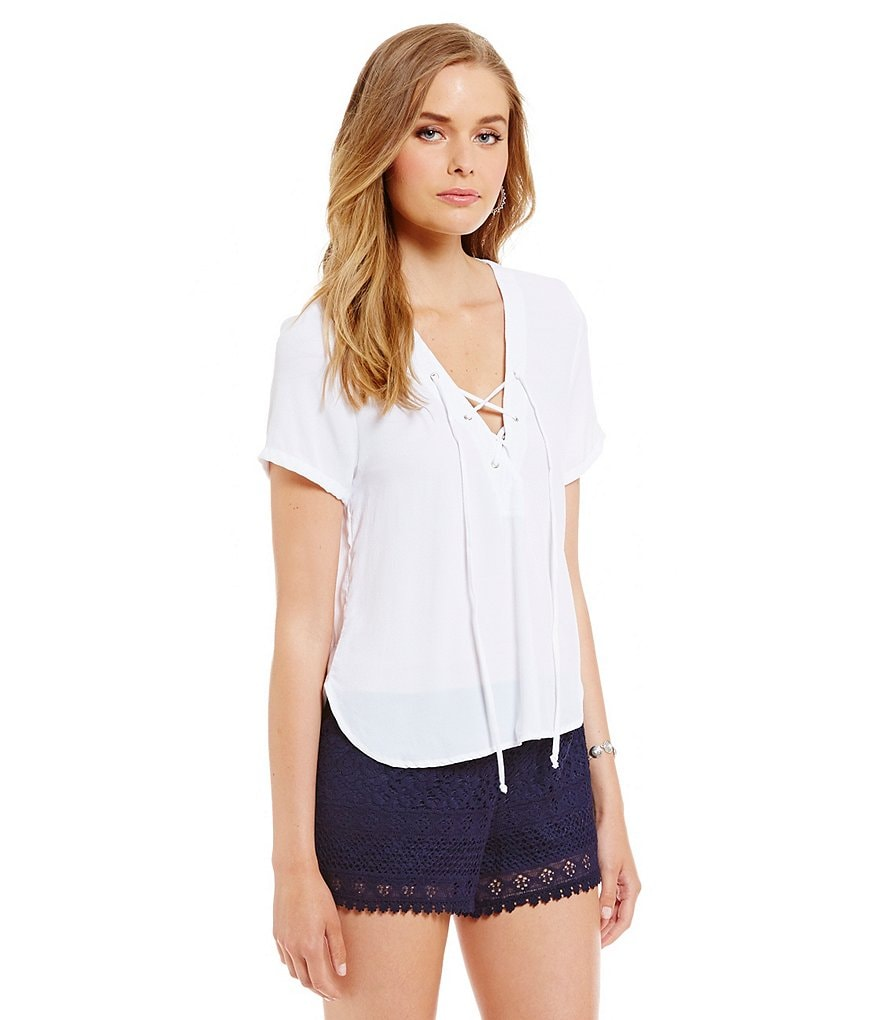 ELAN V-Neck Lace Up Crop Short Sleeve Top