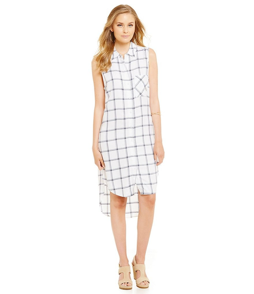 ELAN Plaid Sleeveless Button Down Dress