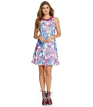 Belle Badgley Mischka Floral Contrast Neck Olga Dress