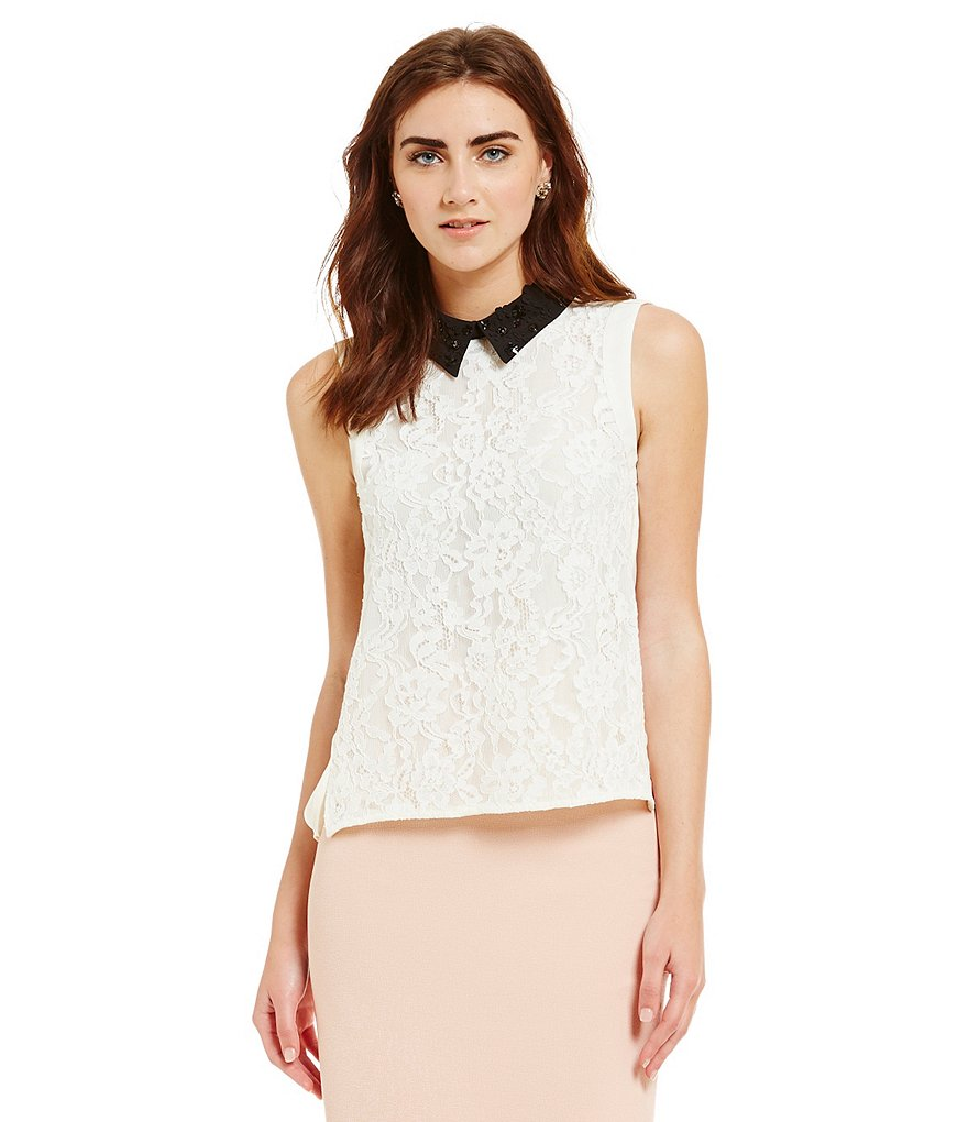 Belle Badgley Mischka Peter Pan Collar Onia Lace Top