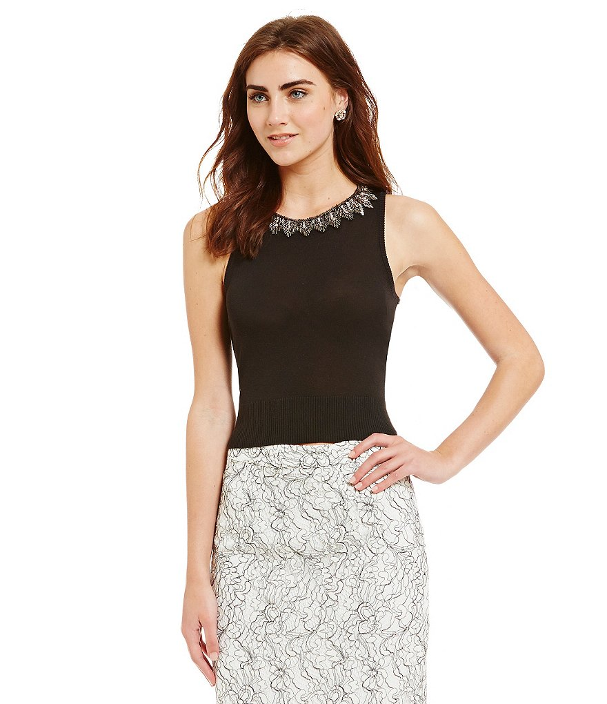 Belle Badgley Mischka Embellished Neck Sleeveless Oralee Top