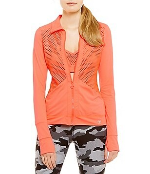 Trina Turk Recreation Laser Cut Solid Zip Front Jacket
