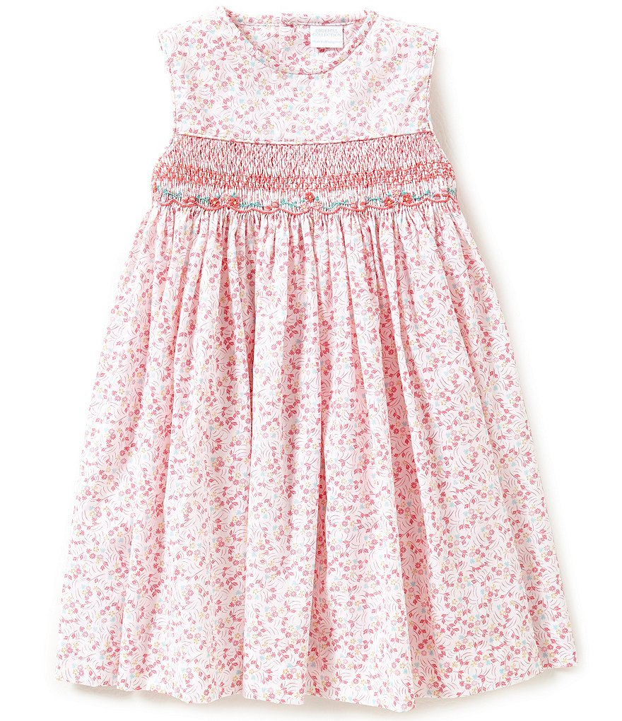 Edgehill Collection Little Girls 2T-4T Floral Print Smocked Dress