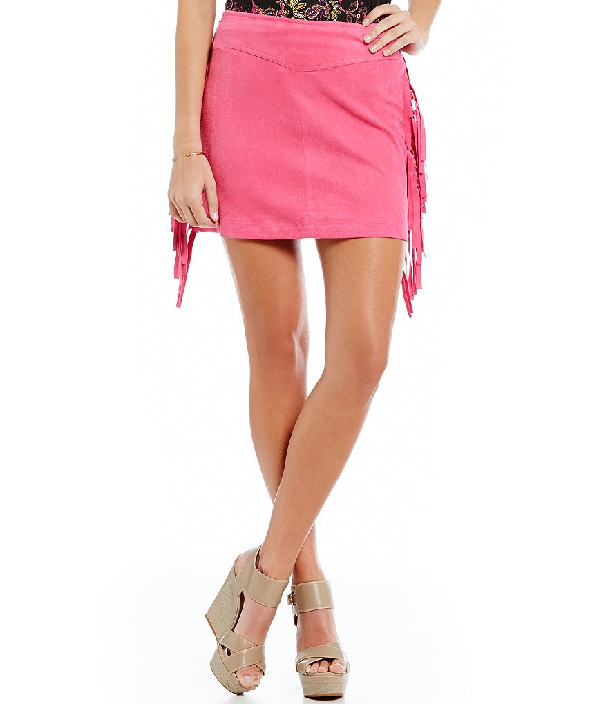 GB Fringe Faux Suede Skirt