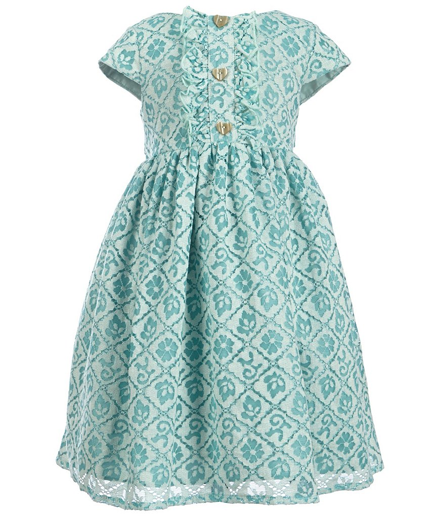 Laura Ashley London Little Girls 2T-6X Button-Front Detail Dress