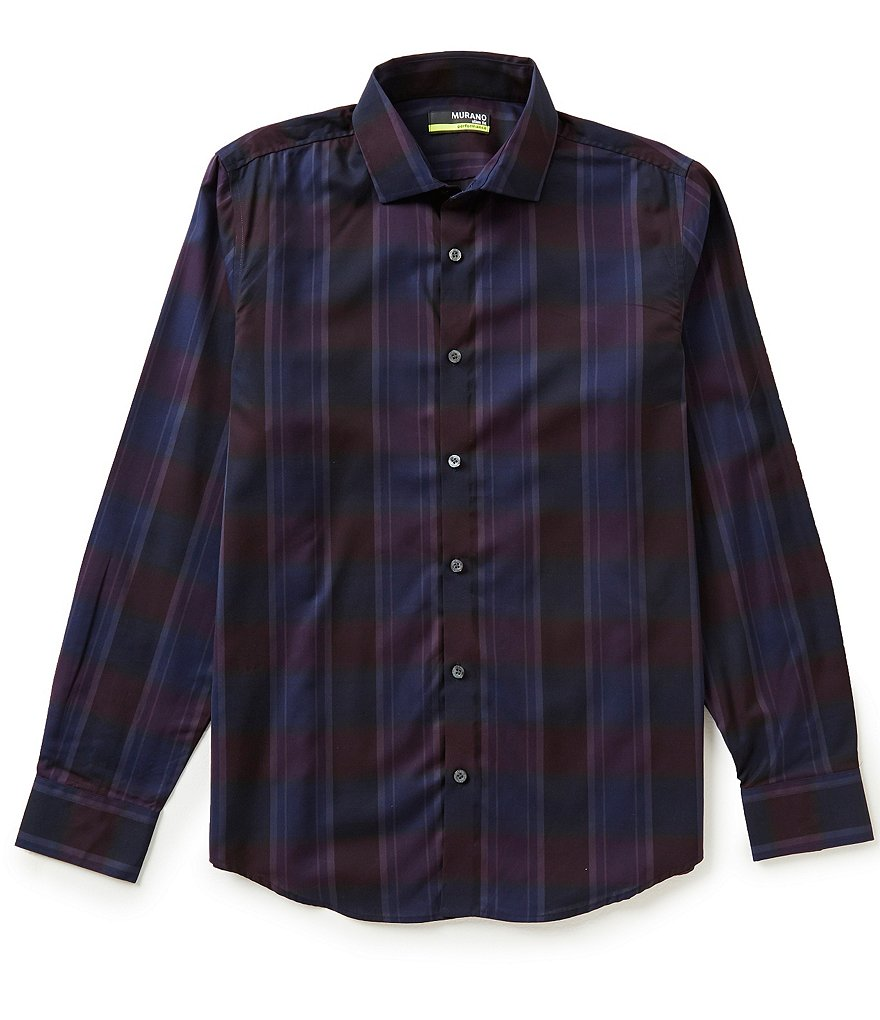 Murano Performance Comfort Stretch Slim-Fit Plaid Sportshirt