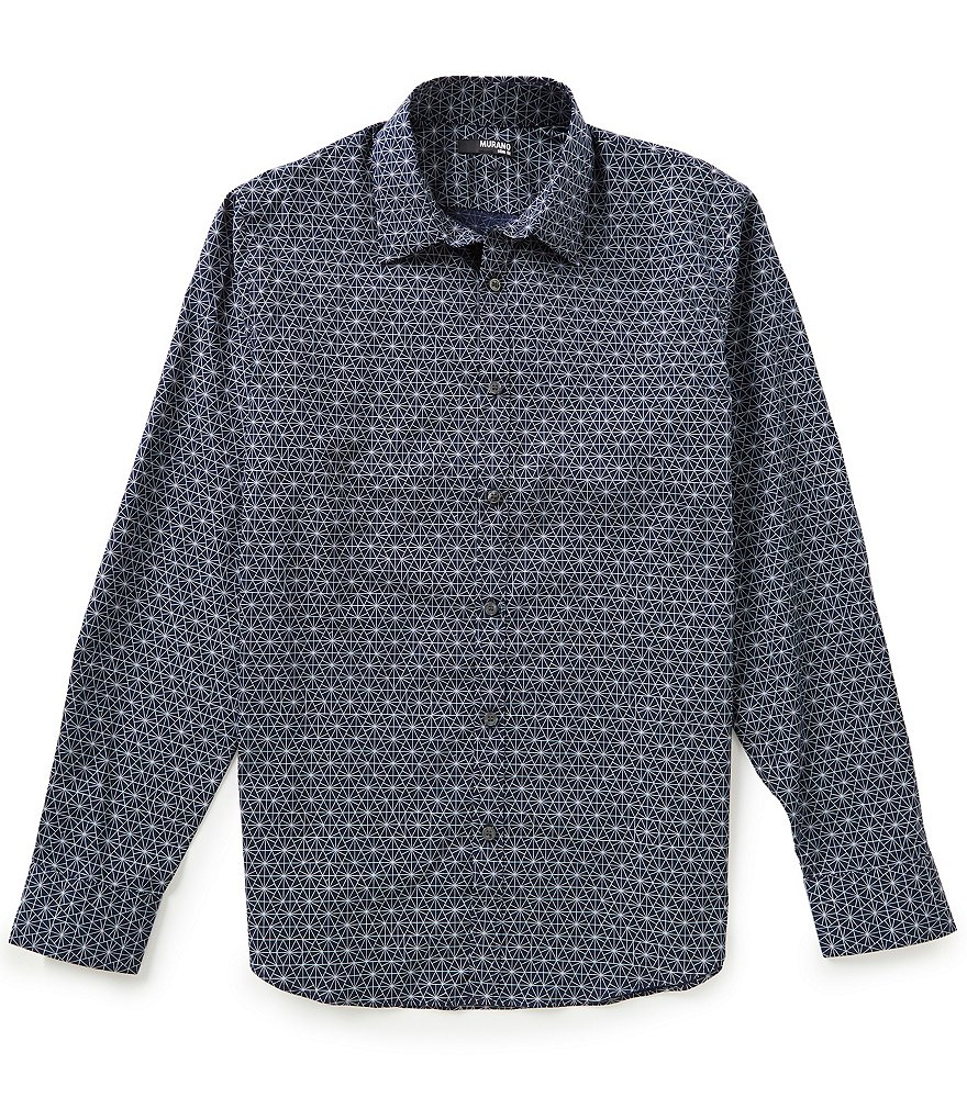 Murano Slim-Fit Long-Sleeve Geometric Printed Sportshirt
