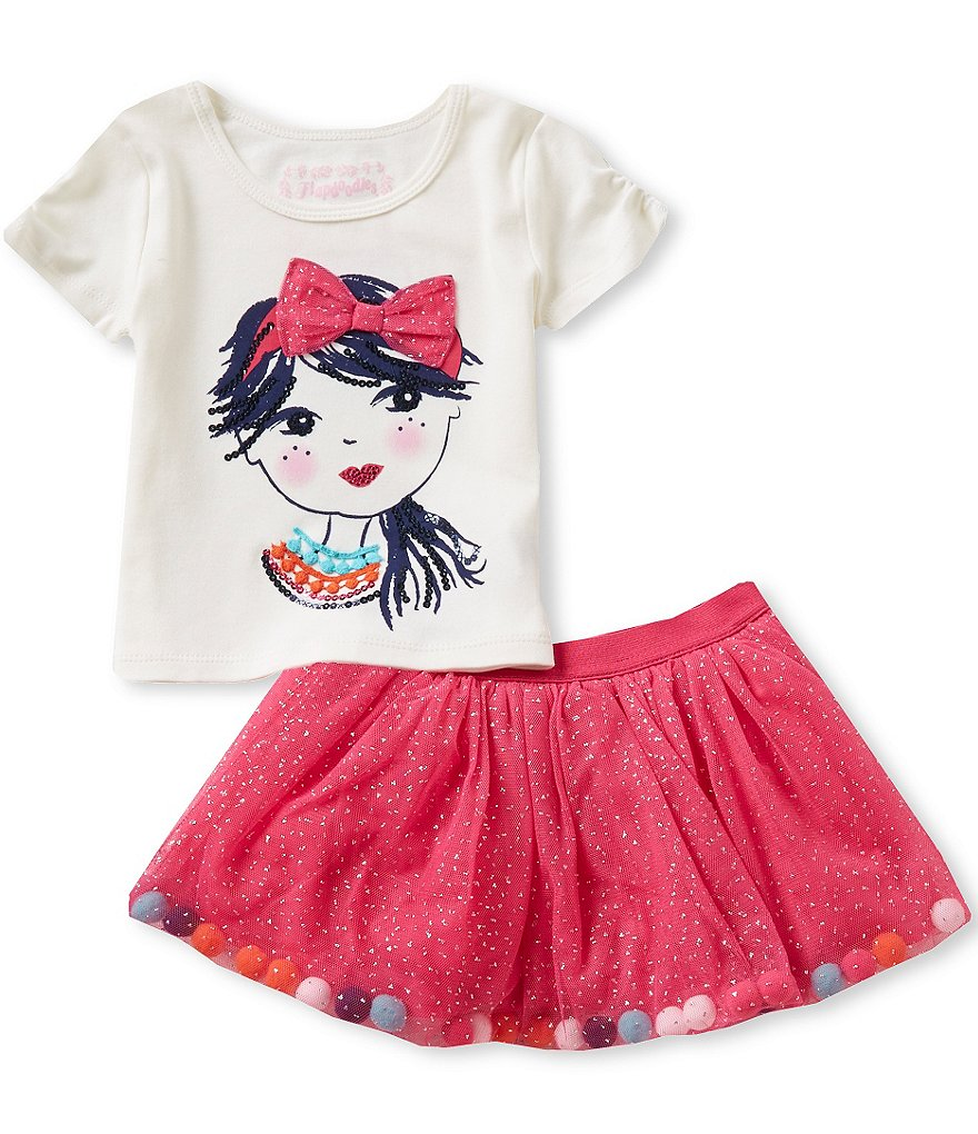 Flapdoodles Little Girls 2T-6X Pom Pom Girl Top and Mesh Skirt Set