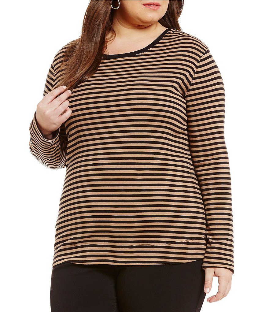 Westbound Plus Rib Striped Crew Long Sleeve Tee