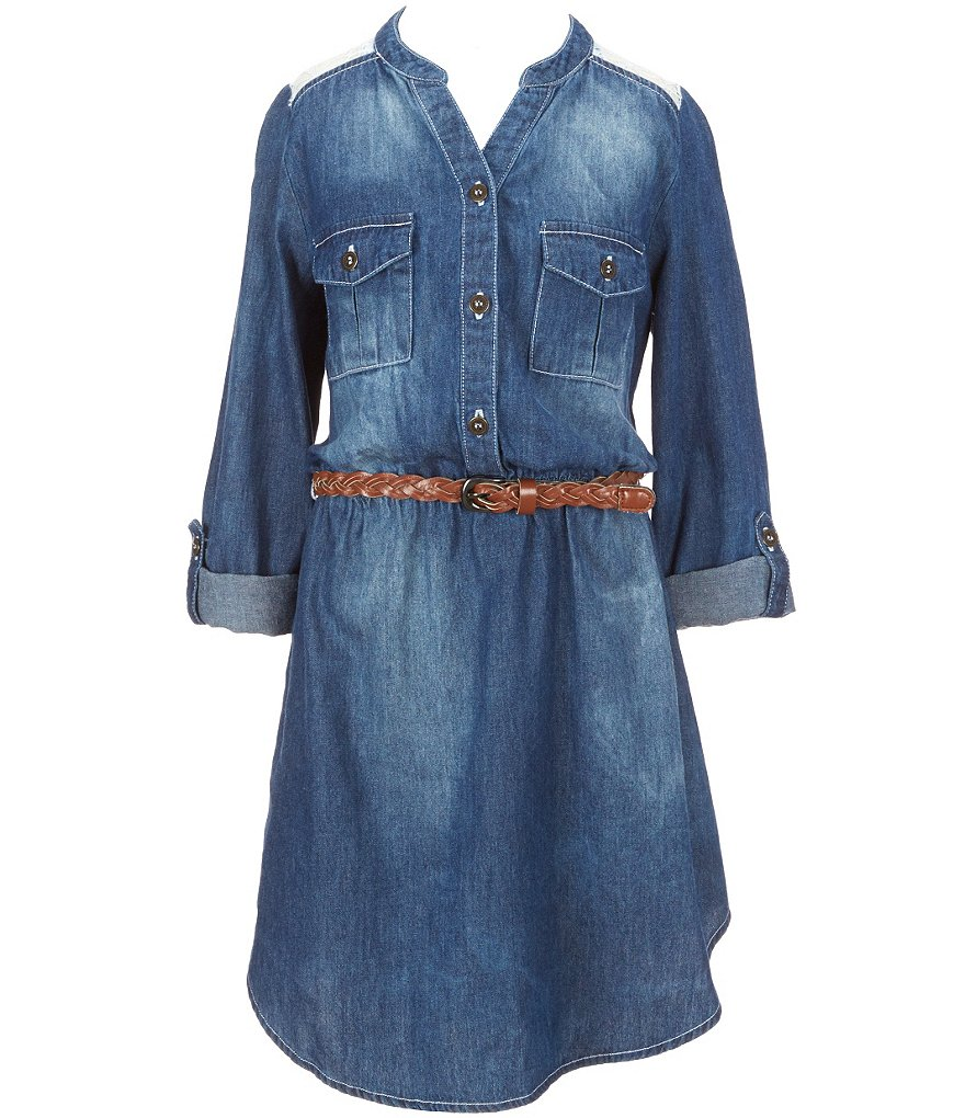 My Michelle Big Girls 7-16 Belted Chambray Dress