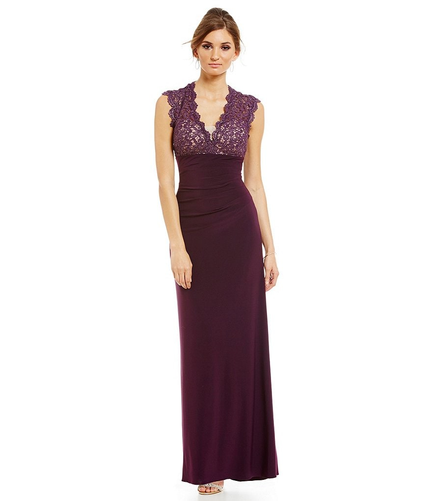 Xscape Scalloped Lace V-Neck Gown