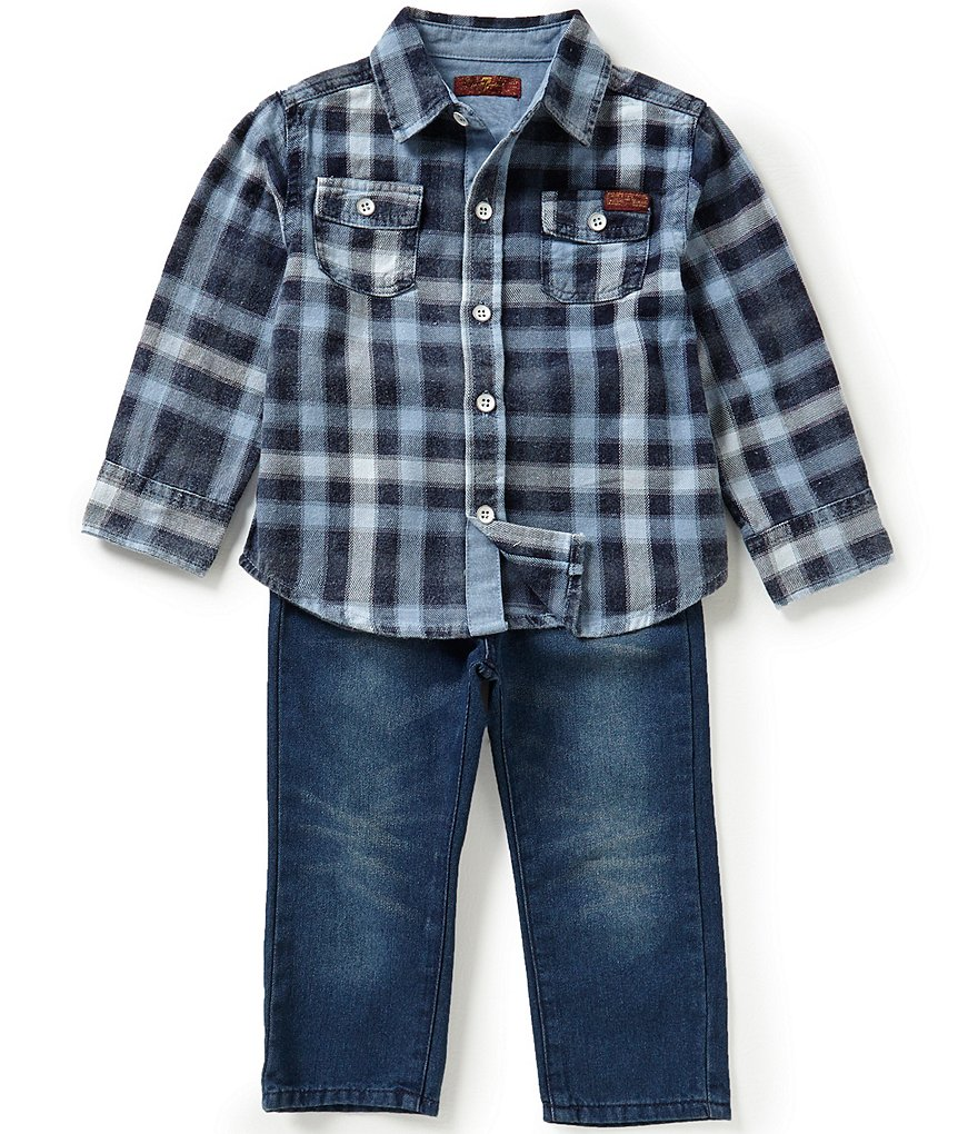 7 For All Mankind Baby Boys 12-24 Months Plaid Flannel Shirt and Denim Jeans Set