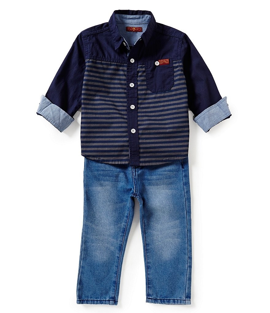 7 For All Mankind Baby Boys 12-24 Months Striped Woven Shirt & Standard Denim Jeans