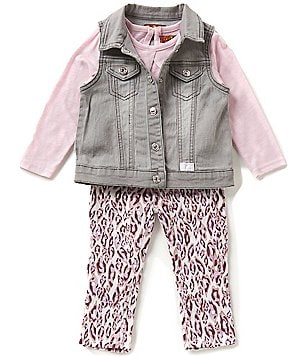 7 For All Mankind Baby Girls 12-24 Months Denim Vest, Slub Jersey Long-Sleeve Tee, & Twill Pants Set
