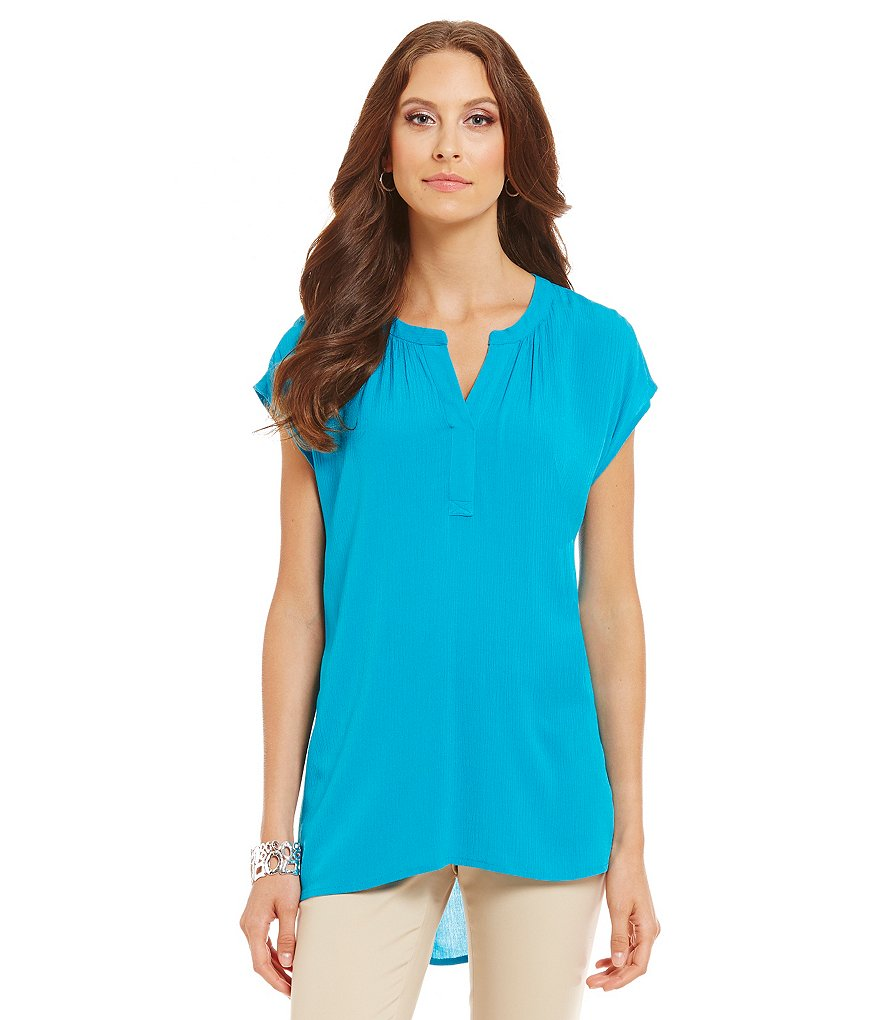 Preston & York Elise Textured Gauze Short Sleeve Blouse