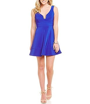 Honey and Rosie Split V-Neck A-Line Dress