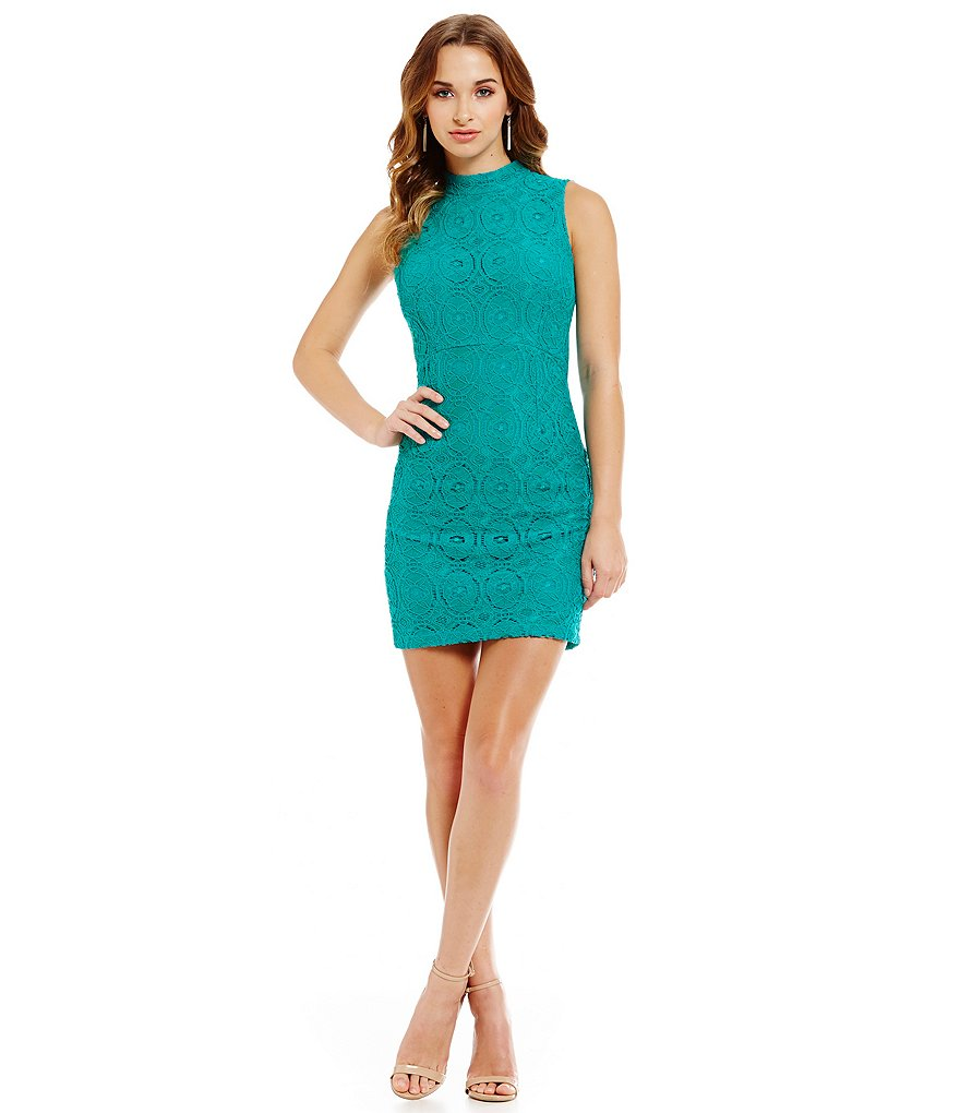 Midnight Doll Mock Neck Crochet Sheath Dress