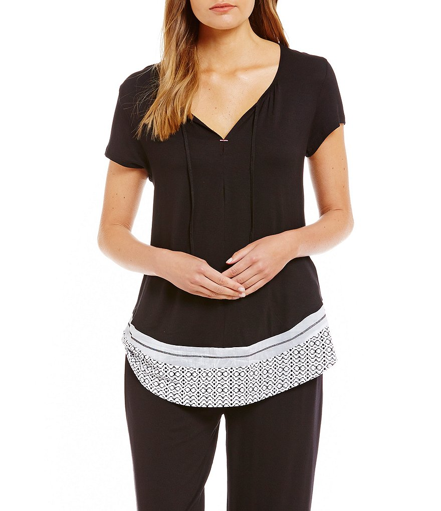 Anne Klein Jersey Tribal Sleep Top