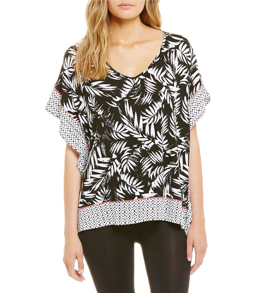 Anne Klein Bamboo Printed Caftan Sleep Top