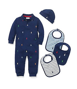 Ralph Lauren Childrenswear Baby Boys Newborn-12 Months Coverall, Hat & Bib