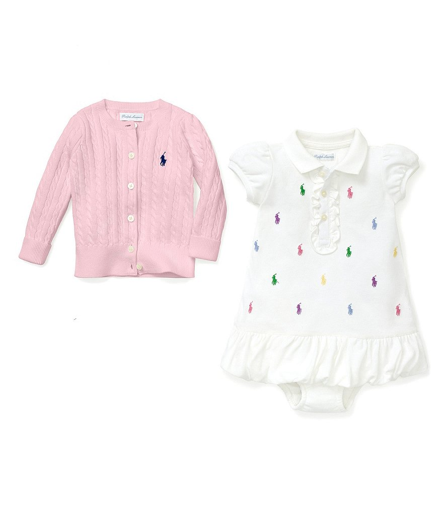 Ralph Lauren Childrenswear Baby Girls 3-24 Months Schiffli-Embroidered Dress and Cardigan