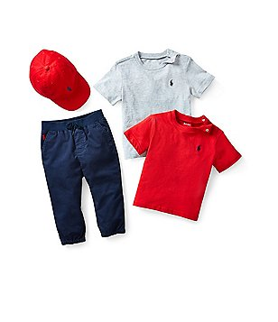 Ralph Lauren Childrenswear Baby Boys 9-24 Months Infant Mesh Shirt, Suffield Chino Pants, & Sport Cap