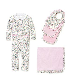 Ralph Lauren Childrenswear Baby Girls Newborn-12 Months Coverall, Blanket & Bib