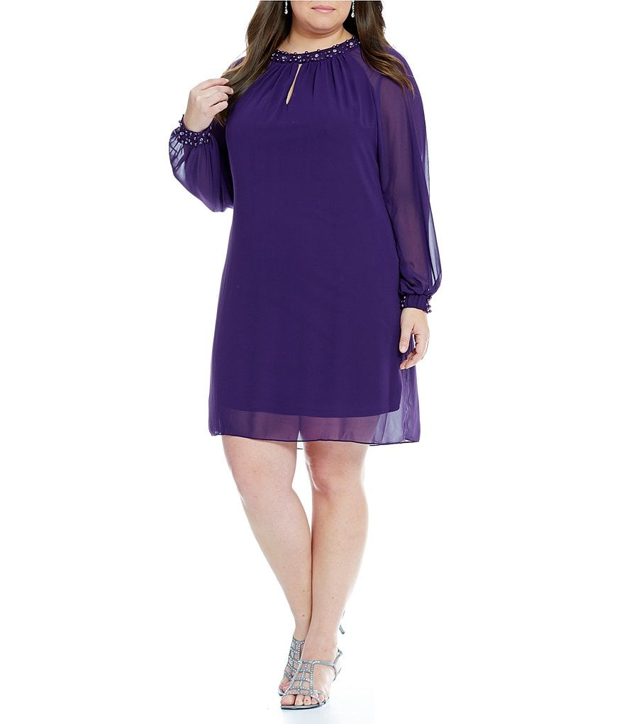 S.L. Fashions Plus Long-Sleeve Pearl-Neck Shift Dress