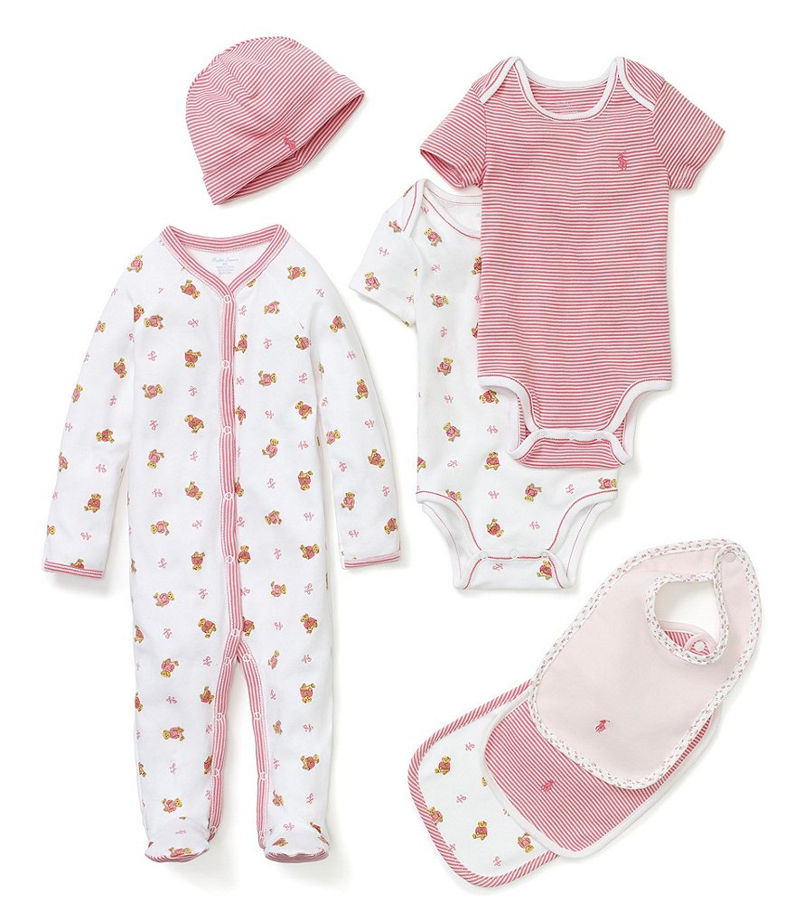 Ralph Lauren Childrenswear Baby Girls Newborn Printed Bodysuits 2-Pack, Coverall, Bib & Hat Collection