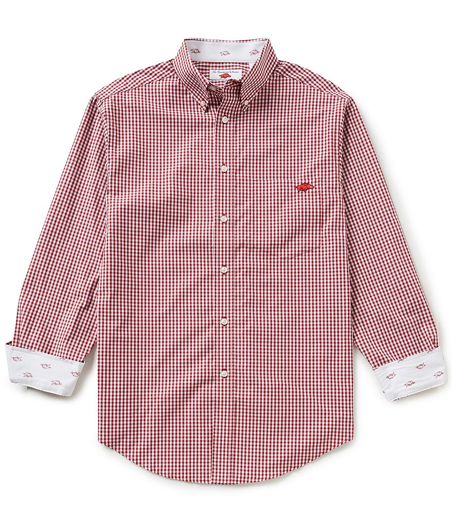 The Razorback Collection Line Gingham University of Arkansas Woven Shirt
