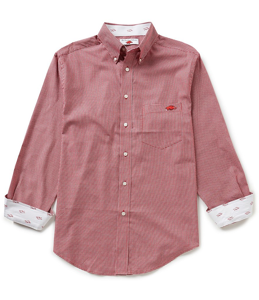 The Razorback Collection Line Mini-Houndstooth University of Arkansas Woven Shirt