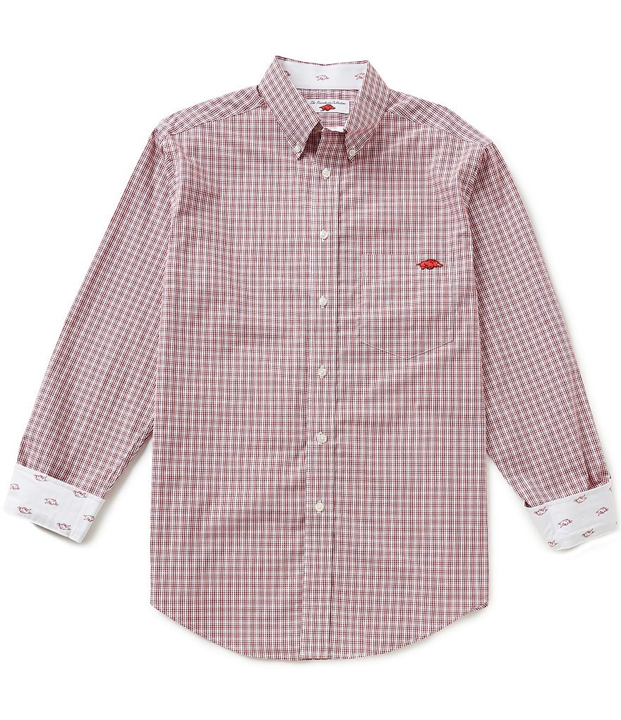 The Razorback Collection Line Medium Plaid University of Arkansas Woven Shirt