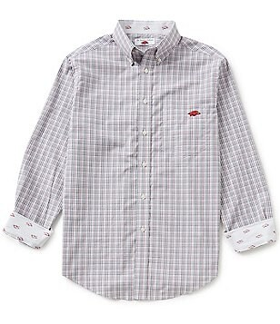 The Razorback Collection Line Mini-Plaid University of Arkansas Woven Shirt