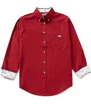 The Razorback Collection Line Solid Oxford University of Arkansas Woven Shirt