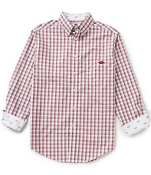 The Razorback Collection Line Plaid University of Arkansas Woven Shirt